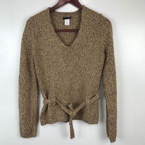 J Crew Merino Wool Sweater V-Neck Belted Pullover